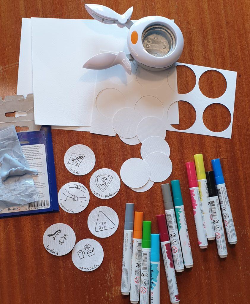 Kuvassa muun muassa paperia, kyniä, sakset/paperileikkuri, sinitarraa.
